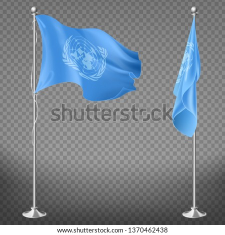 United Nations Organization flag on flagpole set isolated on transparent background. Waving and lowered blue canvas with white un symbol on vertical stick Realistic 3d vector illustration, clip art.