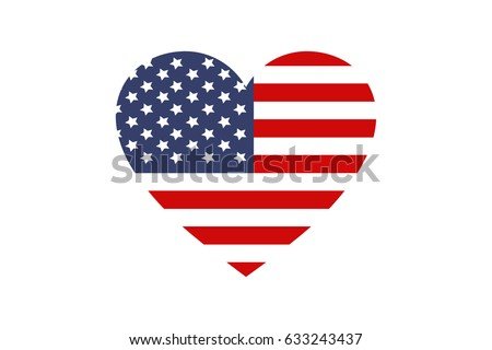 united state flag heart