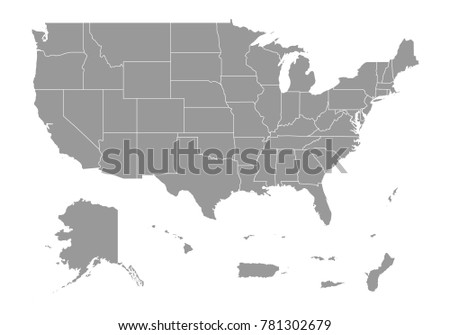 United state of american Territories map. High detailed map of United state of american Territories on white background. Vector illustration eps 10.