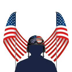 united stated flag with soldier and helmet