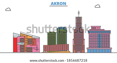 United States, Akron line cityscape, flat vector. Travel city landmark, oultine illustration, line world icons