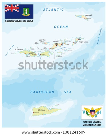 united states and british virgin islands vector map with flags