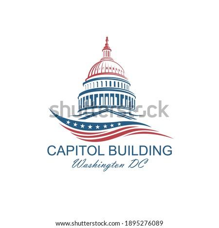 United States Capitol building icon in Washington DC isolated on white backgrpound