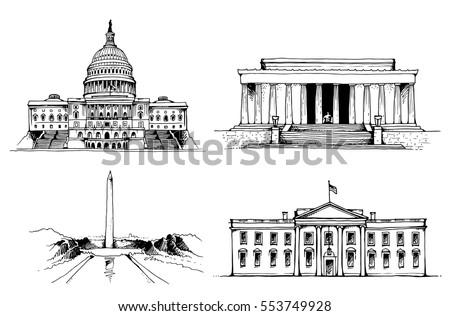United States Capitol Building, White House, Washington Monument, Lincoln Memorial vector illustration. USA vector landmarks set isolated on white background