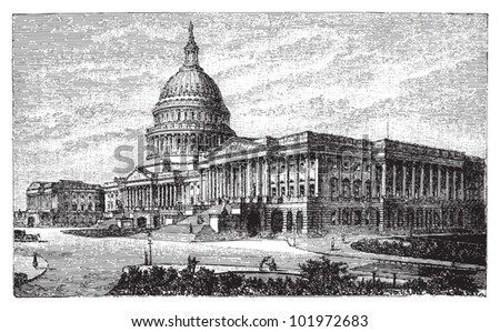 United States Capitol in Washington DC / vintage illustration from Brockhaus Konversations-Lexikon 1908