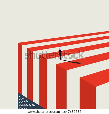 United States economy collapse vector concept. Symbol of crisis, recession, downfall and stock market crash. Eps10 illustration. Stock photo ©