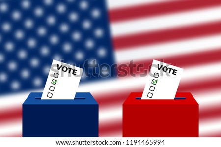 United States elections. US midterm elections 2018: the race for Congress. Elections to US Senate in 2018, preparation of vote against the background of a blurred American flag. Electoral Bulletin