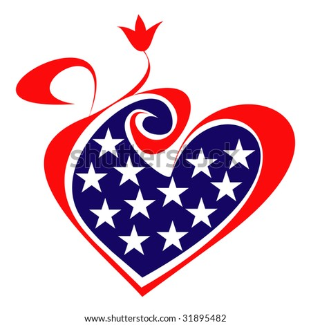 United States flag, heart and flower. Isolated vector icon. Design element.
