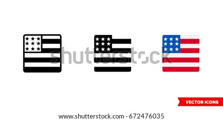 United States flag icon of 3 types: color, black and white, outline. Isolated vector sign symbol.