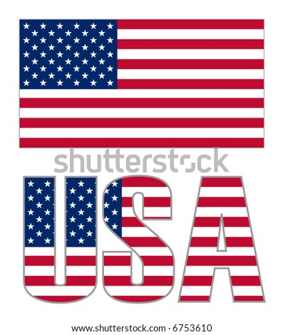 United States Flag Illustration over white background. Accurate color, scale and shape.