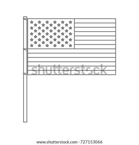 united states flag monochrome silhouette vector illustration