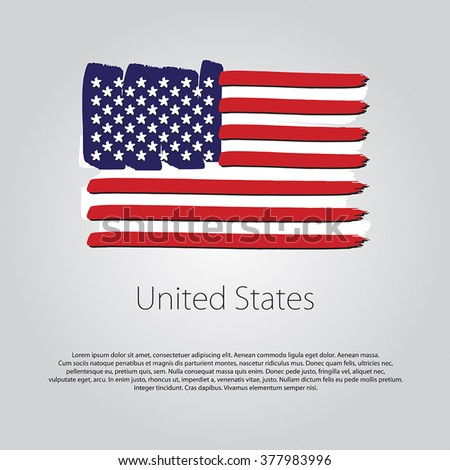 united states flag with colored