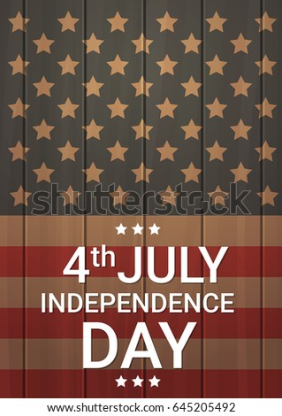 United States Flag Wooden Texture Independence Day Holiday 4 July Banner Vector Illustration #645205492