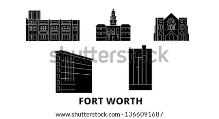 United States, Fort Worth flat travel skyline set. United States, Fort Worth black city vector panorama, illustration, travel sights, landmarks, streets.