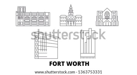 United States, Fort Worth line travel skyline set. United States, Fort Worth outline city vector illustration, symbol, travel sights, landmarks.