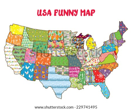United States Funny Map With Patterns