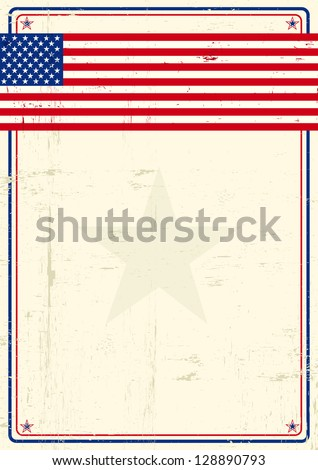 United states grunge poster. A poster with a large scratched frame and a grunge us flag for your publicity.