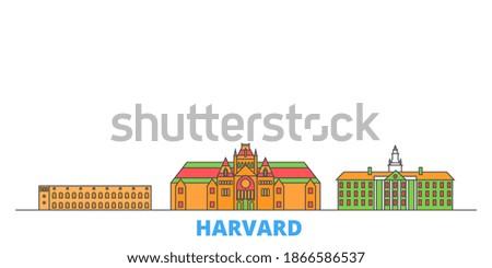 United States, Harvard line cityscape, flat vector. Travel city landmark, oultine illustration, line world icons