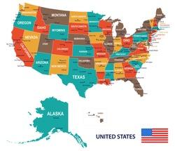 United States - map and flag illustration
