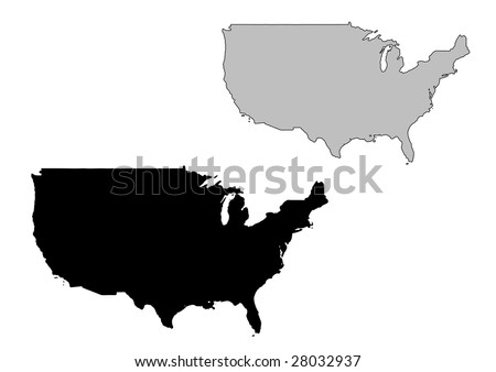 United States map. Black and white. Mercator projection.