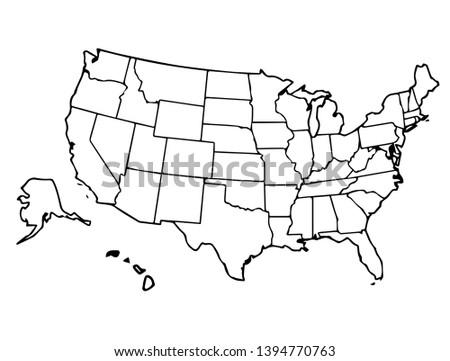 United states map detailed outline vector
