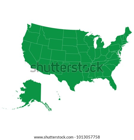 United States map isolated on transparent background. high detailed Green map of United States. Vector illustration eps 10. Blank Green similar United States map isolated on white background.