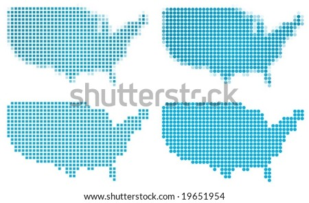 United States map mosaic set. Isolated on white background.