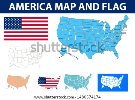 United States map vector illustration. America flag and map. United States of America. america city map. usa map. Usa Flag
