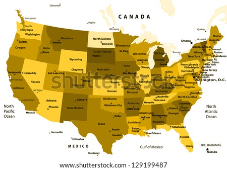 United States map vector - ocher States and capital cities.Vector illustration