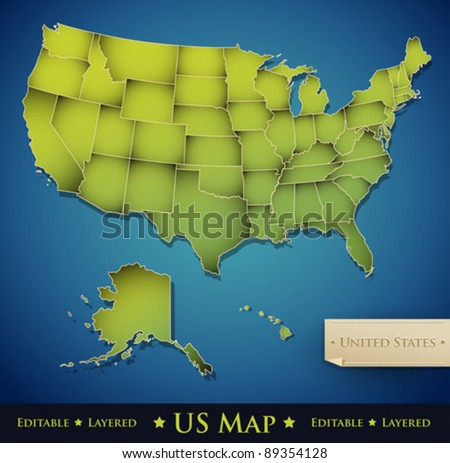 Colorful Vector Map Of The United States Download Free Vector - Editable us map with states