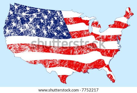 United States Map with Flag and Grunge