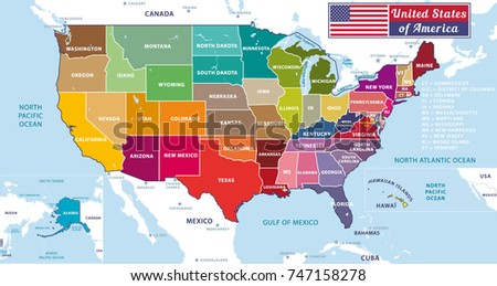 United States of America. Beautiful modern graphic vector USA map with oceans and lakes. 50 states. Alaska and Hawaïi.