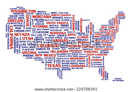 United States Of America City Map Tag Cloud Concept Print National Capital Of Countries And
