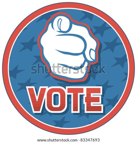 United States of America Elections pins (badge, design, hand pointing)