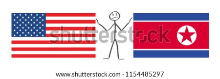 United States of America flag and North Korea flag, between stickerman soothe tension us vector  .