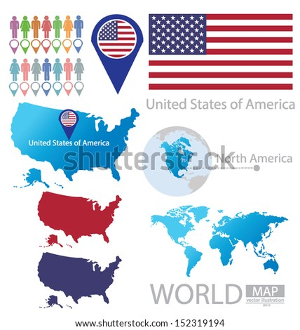 United States of America. flag. North america. World Map. vector Illustration.