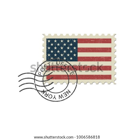 United States of America flag postage stamp. Isolated vector illustration on white background.