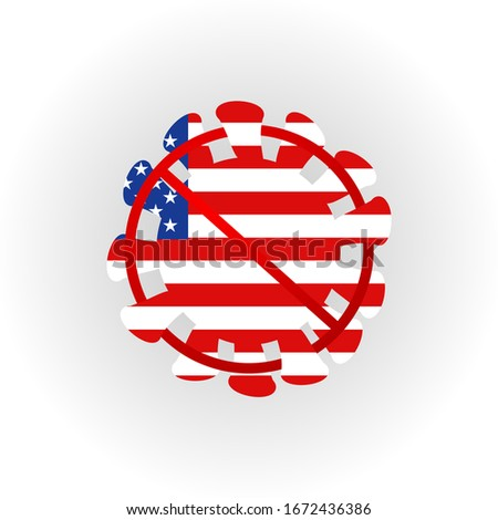 United States of America flag Sign caution virus. Stop 2019-nCoV outbreak. Coronavirus danger and public health risk disease and flu outbreak. Pandemic medical concept with dangerous cells. Vector ill