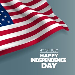 United states of America happy independence day greeting card, banner, horizontal vector illustration. USA holiday 4th of July design element with American  flag with curve
