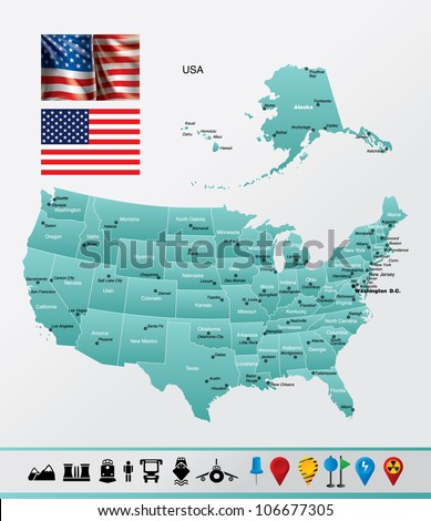 United States of America High detailed map with navigation and travel icons.