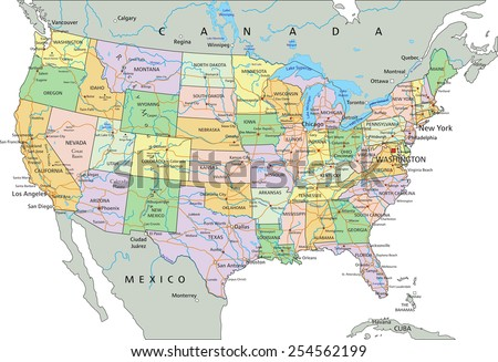 United States of America - Highly detailed editable political map with labeling. #254562199