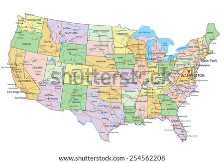 United States of America - Highly detailed editable political map with labeling. #254562208
