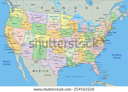 United States of America - Highly detailed editable political map with labeling. #254562226