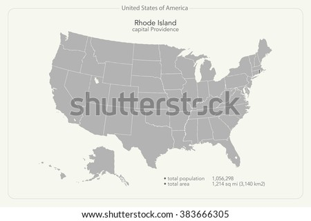 United States Of America Isolated Map And Rhode Island State Territory Vector Usa Political Maps