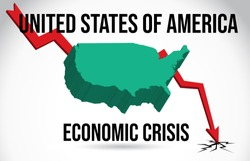 United States of America Map Financial Crisis Economic Collapse Market Crash Global Meltdown Vector Illustration.