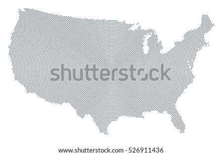 united states of america map radial dot pattern gray dots going from the center outwards