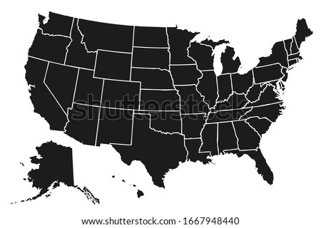 United States of America map. USA map with states isolated – stock vector