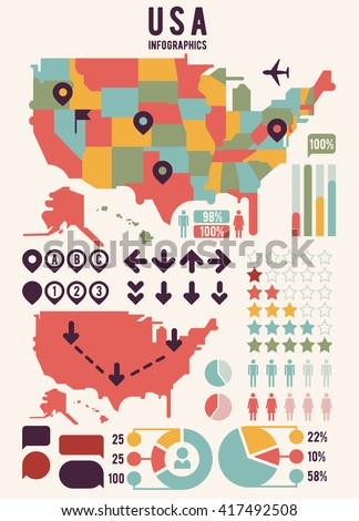 United States of America map with infographics elements. USA chart, information, graph banner. Vector illustration