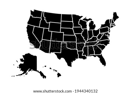 United States of America map with states isolated on a white background. Foto stock ©