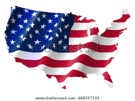 United States of America Map With Waving Flag.